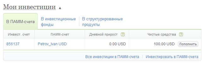Мои инвестиции в ПАММ-счета в личном кабинете Альпари